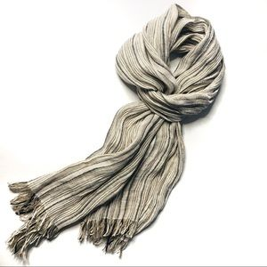 MaxMara Stripe Scarf Flax Linen Blend with Fringes